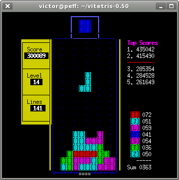 vitetris: Text-mode Tetris for Linux